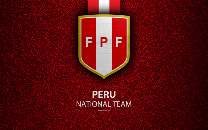 Peru National Football Team 4k Leather Texture Emblem Peruvian Federation