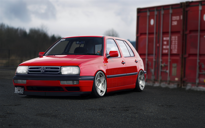 Download Wallpapers 4k, Volkswagen Golf, MK3, Marcelux