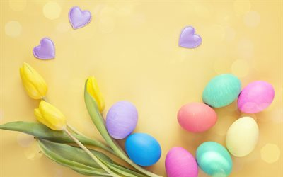 Easter eggs, yellow background, painted eggs, April 1, April 8, 2018, Easter, yellow tulips, postcard background, spring flowers