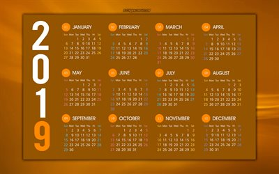 Brown 2019 calendar, stylish background, wave background, all months, 2019 calendar, 2019 concepts, art