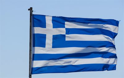 Flag of Greece, silk flag, national symbol, Greek flag, flag against the sky, flagpole, Greece, Europe