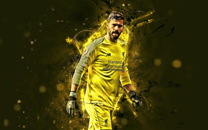 Download Wallpapers Alisson Becker, Yellow Uniform, LFC
