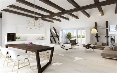living room, modern interior design, minimalism, stylish living room design, white walls, white living room, wooden beams on the ceiling, country house