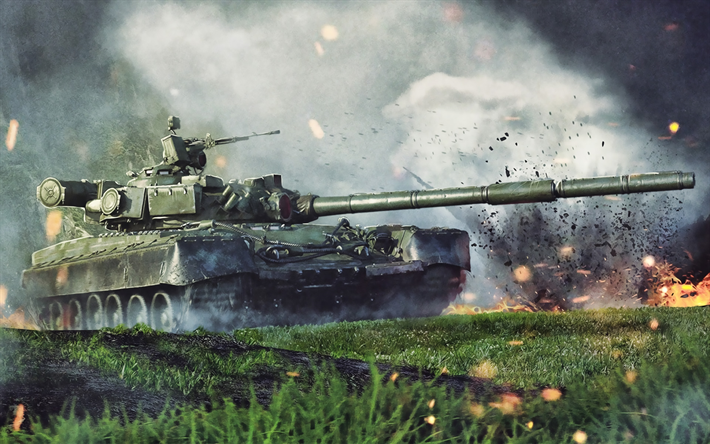 T-80, battle, tanks, Russian MBT, Russian Army, artwork, green camouflage, armored vehicles