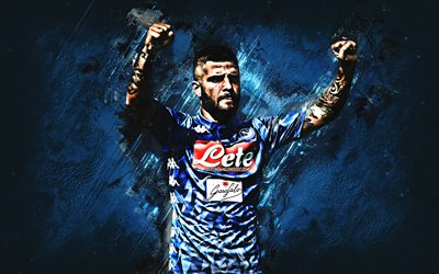 Lorenzo Insigne, Napoli, striker, blue stone, portrait, famous footballers, football, Italian footballers, grunge, Serie A, Italy