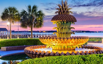 Pineapple Fountain, Charleston, South Carolina, USA, evening, palm trees, Fountain