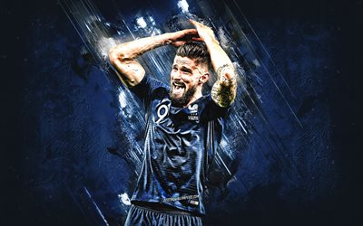Olivier Giroud, France national football team, number 9, striker, blue stone, portrait, famous footballers, football, french footballers, grunge, France
