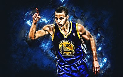 Stephen Curry, American basketball player, Golden State Warriors, NBA, creative art, basketball, USA, blue stone