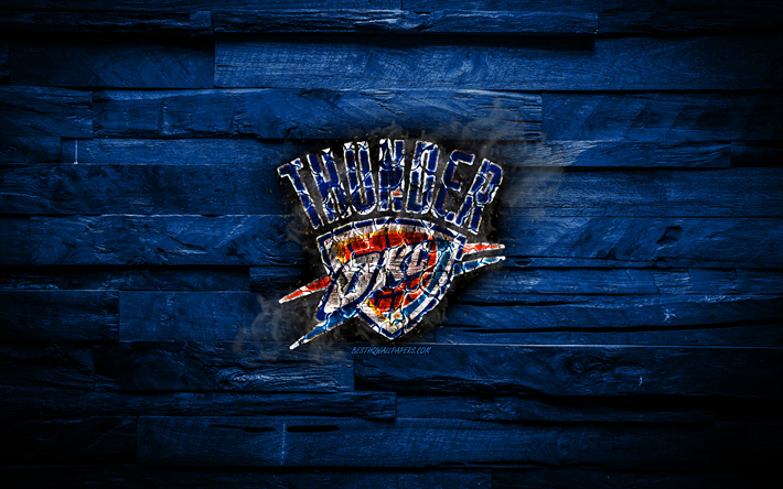 Download wallpapers Oklahoma City Thunder, 4k, scorched logo, NBA