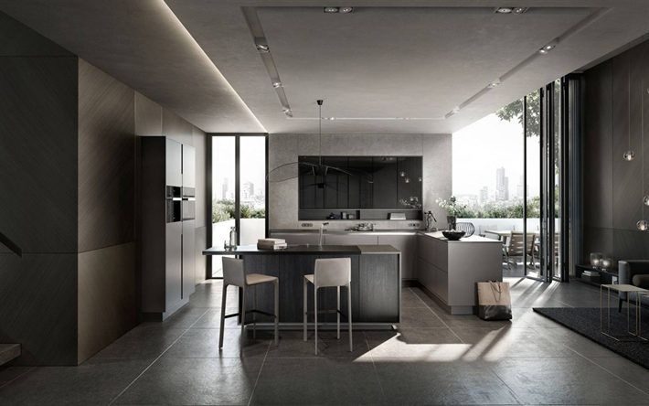stylish kitchen interior design, gray kitchen, modern interior, gray furniture, kitchen