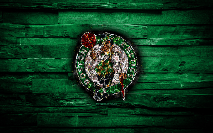 Download Wallpapers Boston Celtics 4k Scorched Logo Nba Green Wooden Background American Basketball Team Eastern Conference Grunge Basketball Boston Celtics Logo Fire Texture Usa For Desktop Free Pictures For Desktop Free