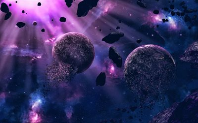 destruction of planets, 4k, nebula, galaxy, stars, explosion of planet, asteroids, sci-fi, universe, planets