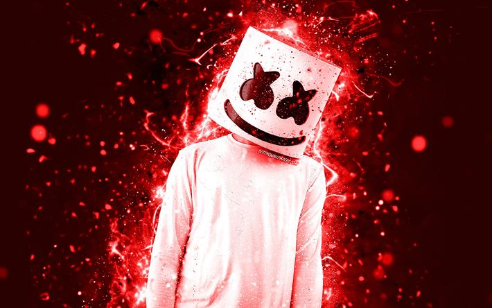 Download wallpapers DJ Marshmello, red neon, 4k ...