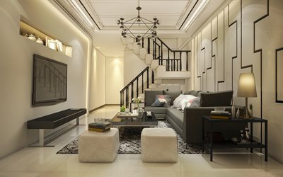 luxurious interior design, living room, white living room, modern interior, black staircase