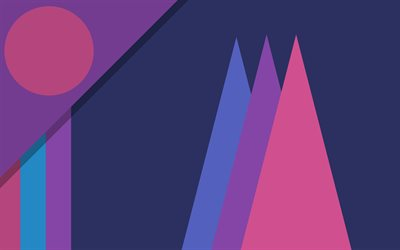 material design, purple and violet, 4k, abstract landscapes, geometric shapes, lollipop, geometry, creative, strips, purple backgrounds