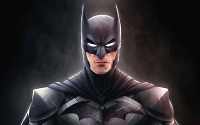 Batman, 3D art, superheroes, darkness, black backgrounds, Bat-man, DC Comics, Cartoon Batman
