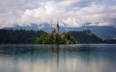 4k, Church of the Mother of God, beautiful nature, Lake Bled, summer, Julian Alps, mountains, Carniolan, Slovenia, Europe