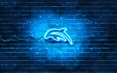 Small Dolphin neon icon, 4k, blue background, neon symbols, Small Dolphin, neon icons, Small Dolphin sign, animals signs, Small Dolphin icon, animals icons