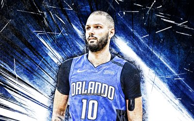 4k, Evan Fournier, grunge art, Orlando Magic, NBA, basket, Evan Mehdi Fournier, Evan Fournier Orlando Magic, blue abstract strålar, Evan Fournier 4K