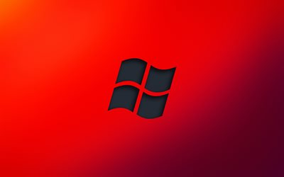 Windows black logo, 4k, minimalism, red backgrounds, Windows, OS, Windows logo