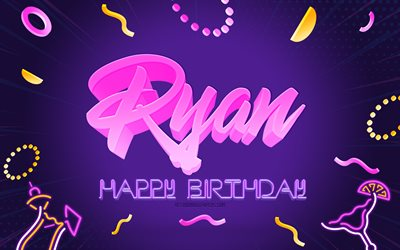 Happy Birthday Ryan, 4k, Purple Party Background, Ryan, creative art, Happy Ryan birthday, Ryan name, Ryan Birthday, Birthday Party Background