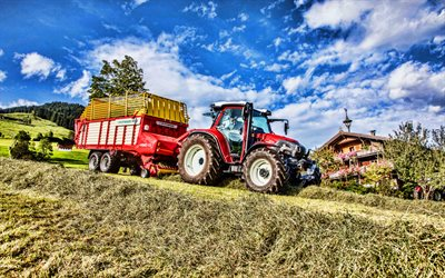 4k, Lindner Lintrac 115 LS, grassland, picking grass, 2021 tractors, red tractor, HDR, agricultural machinery, agriculture, Lindner