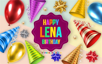 Happy Birthday Lena, 4k, Birthday Balloon Background, Lena, creative art, Happy Lena birthday, silk bows, Lena Birthday, Birthday Party Background