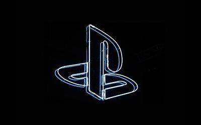PlayStation linear logo, 4k, minimal, black backgrounds, creative, artwork, PlayStation neon logo, PlayStation minimalism, brands, PlayStation logo, PlayStation