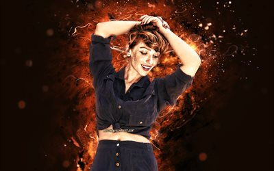 Vica Kerekes, 4k, brown neon lights, slovak actress, beauty, Eva Kerekes, slovak celebrity, Vica Kerekes 4K