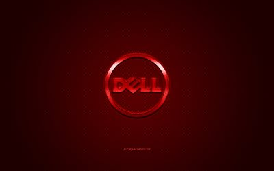 Dell round logo, red carbon background, Dell red metal logo, Dell red emblem, Dell, red carbon texture, Dell logo