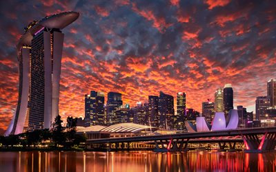 4k, Singapore, sunset, cityscaoes, Marina Bay Sands, skyscrapers, modern buildings, Asia, Singapore 4K, HDR