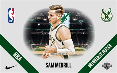 sam merrill, milwaukee bucks, amerikanischer basketballspieler, nba, porträt, usa, basketball, fiserv forum, milwaukee bucks-logo