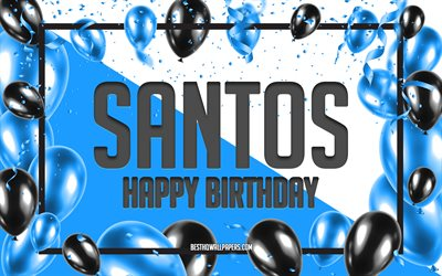 Happy Birthday Santos, Birthday Balloons Background, Santos, wallpapers with names, Santos Happy Birthday, Blue Balloons Birthday Background, Santos Birthday