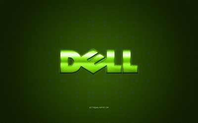 Dell logo, green carbon background, Dell metal logo, Dell green emblem, Dell, green carbon texture