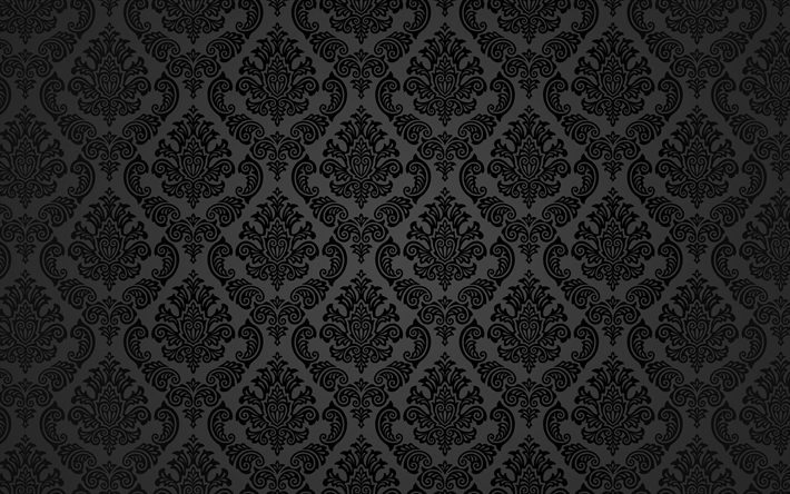 Download wallpapers black floral pattern, 4k, floral ...