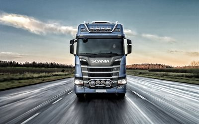 Scania R450, 2019, front view, truck on the highway, trucking, delivery concepts, new trucks, Scania