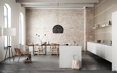 stylish interior design living room, loft style, white brick wall, modern interior, living room