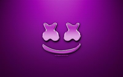 Marshmello violetti logo, fan art, amerikkalainen DJ, chrome-logo, Christopher Comstock, Marshmello, violetti metalli tausta, DJ Marshmello, Dj, Marshmello logo