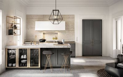 stylish kitchen interior, modern interior design, kitchen, classic style, light marble tiles for the kitchen