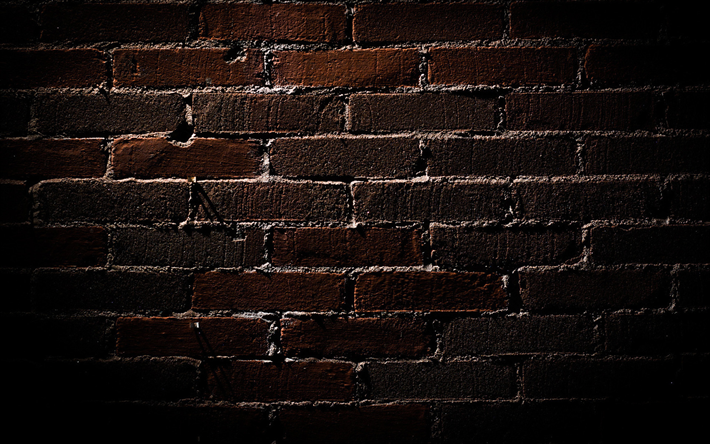 Download wallpapers black brickwall, close-up, black ...