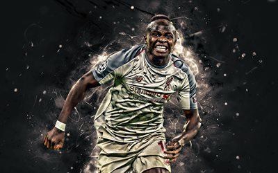 Sadio Mane, goal, Liverpool FC, gray uniform, senegalese footballers, soccer, Mane, abstract art, Premier League, England, football, neon lights, LFC