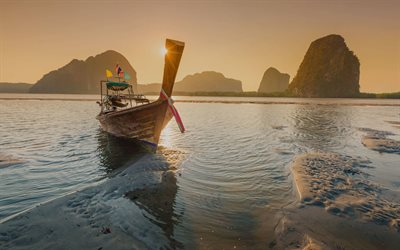 Phuket, tropical island, ocean, tourism, sunset, boat, travel concepts, Thailand
