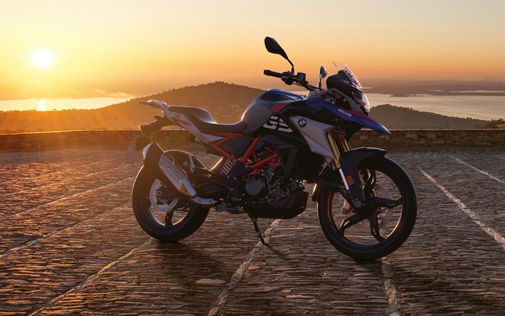 BMW G 310 GS, offroad, 2021 bikes, sunset, superbikes, 2021 BMW G 310 GS, german motorcycles, BMW