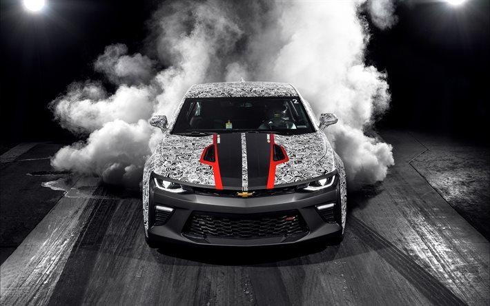 Download Wallpapers Chevrolet Camaro Ss Smoke 2017 Cars