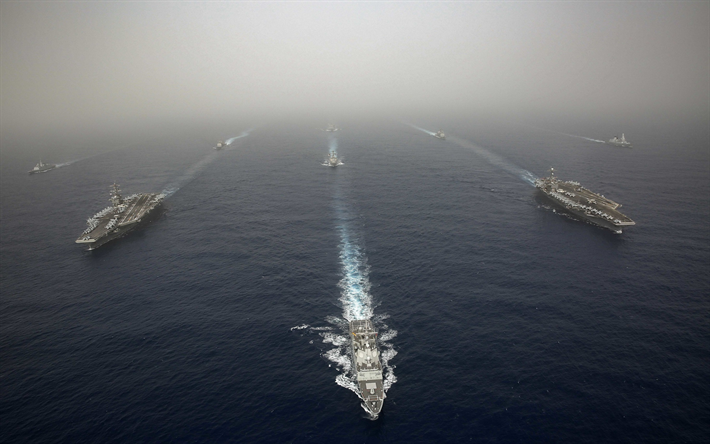 USS John C Stennis, CVN-74, USS Abraham Lincoln, CVN-72, US nuclear aircraft carriers, US Navy, battle group, warships, destroyers