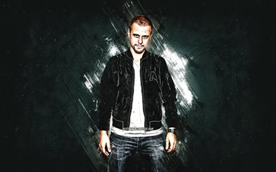 Armin van Buuren, dutch dj, portrait, popular dj, gray stone background, creative art
