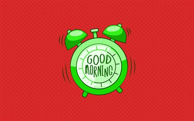 Good Morning, green alarm clock, 4k, red dotted backgrounds, creative, good morning concepts, minimalism