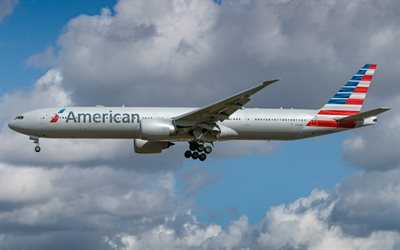Boeing 777-300ER, passenger plane, American Airlines, air travel concepts, airliner, Boeing