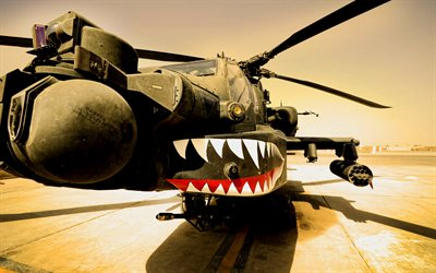 Boeing AH-64 Apache, close-up, combat helicopter, US Army, combat aircraft, military helicopters, aerodrome, AH-64 Apache, US Air Force