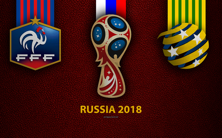 France vs Australia, 4k, Group C, football, 16 June 2018, logos, 2018 FIFA World Cup, Russia 2018, burgundy leather texture, Russia 2018 logo, cup, France, Australia, national teams, football match